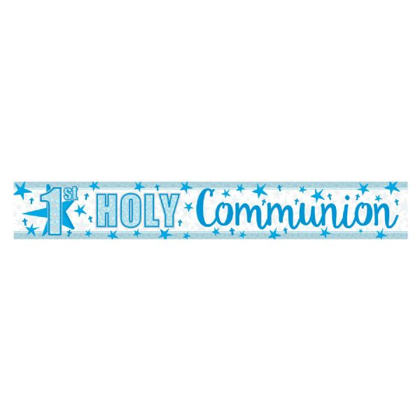 Blue 1st Holy Communion Holographic Foil Banner